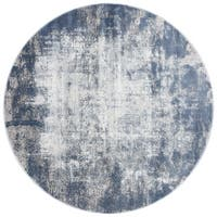 "Distressed Abstract Blue/ Grey Textured Vintage Round Rug - 5'3"" x 5'3"""
