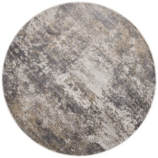 """Distressed Abstract Grey/ Taupe Textured Vintage Round Rug - 5'3"""" x 5'3"""" Round"""