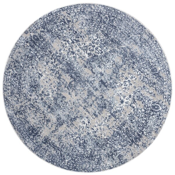 Distressed Transitional Blue/ Grey Floral Vintage Round Rug - 7'10