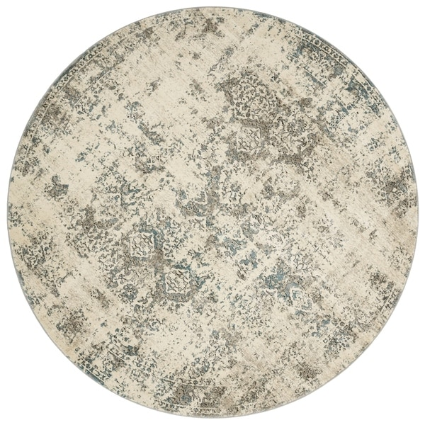 "Antique Inspired Vintage Ivory/ Grey Distressed Round Rug - 7'7"" x 7'7"""