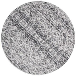 "Distressed Transitional Grey Stone Vintage Damask Round Rug - 7'10"" x 7'10"" Round"