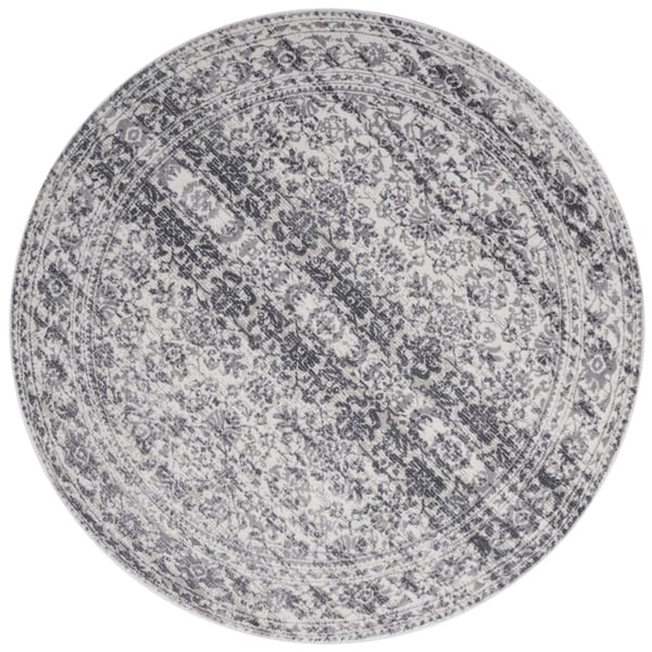 Distressed Transitional Grey Stone Vintage Damask Round Rug - 7'10