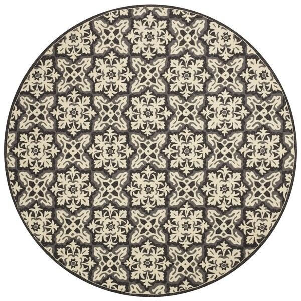 Indoor/ Outdoor Hand-hooked Grey Floral Mosaic Round Rug - 7'10