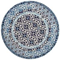 Indoor/ Outdoor Hand-hooked Blue Damask Round Rug - 7'10