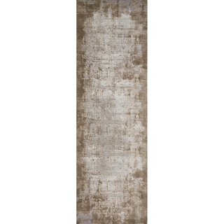 "Distressed Abstract Taupe/ Grey Textured Vintage Runner Rug - 2'7"" x 12' Runner"