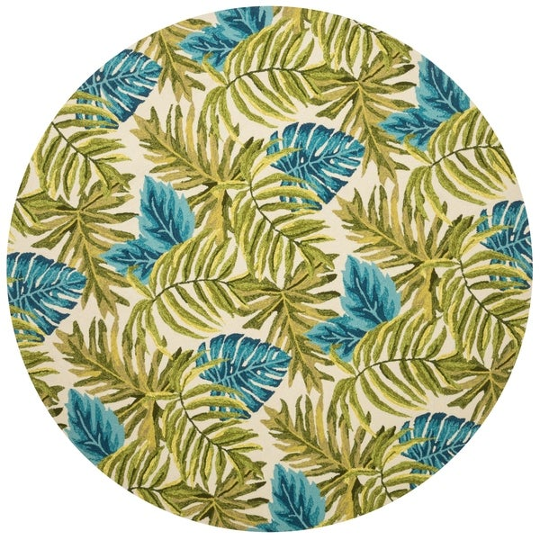 Indoor/ Outdoor Hand-hooked Green/ Blue Tropical Palm Leaf Round Rug - 7'10