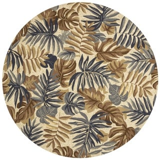"""Indoor/ Outdoor Hand-hooked Grey/ Taupe Tropical Palm Leaf Round Rug - 7'10"""" x 7'10"""" Round"""