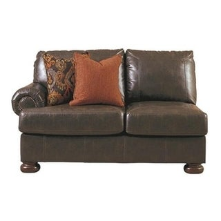 Ashley Signature Design Benchcraft Nesbit Brown DuraBlend Traditional Antique Left Arm Facing Loveseat
