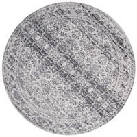 Distressed Transitional Grey Stone Vintage Damask Round Rug - 5'3