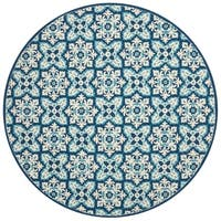 Indoor/ Outdoor Hand-hooked Blue Floral Mosaic Round Rug - 7'10
