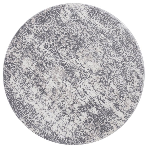 Distressed Transitional Grey Floral Vintage Round Rug - 5'3