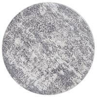 Distressed Transitional Grey Floral Vintage Round Rug - 5'3