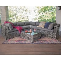 3-Piece Random Weave Outdoor Sectional and Coffee Table