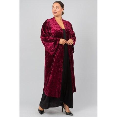 JED Women's Plus Size Crushed Velvet Long Kimono Cardigan
