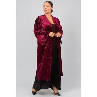 JED Women's Plus Size Crushed Velvet Long Kimono Cardigan