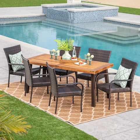Sutton Outdoor 7 Piece Acacia Wood/ Wicker Dining Set by Christopher Knight Home