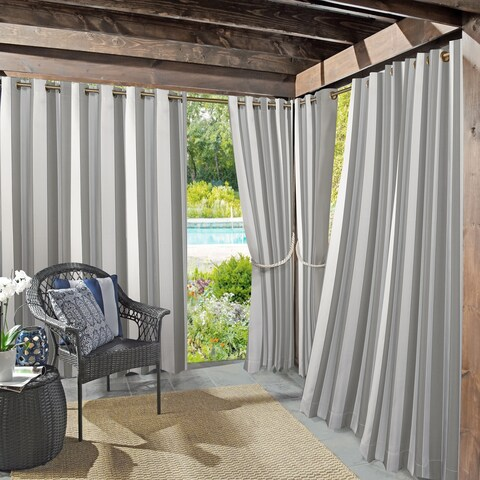 Sun Zero Valencia Cabana Stripe Indoor/Outdoor Curtain Panel