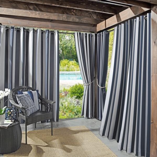 Sun Zero Valencia Cabana Stripe Indoor/Outdoor Curtain Panel