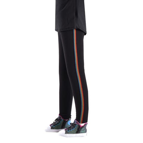 Girls sport legging with side stripes,