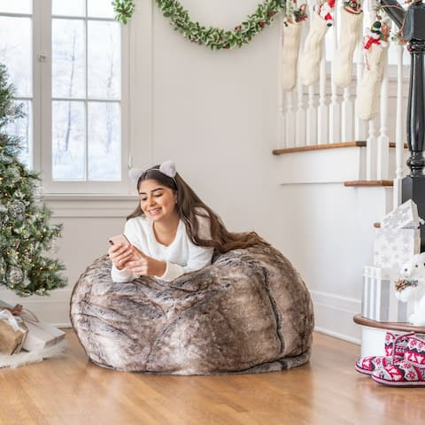 Monroe Faux Fur 2.75-foot Lounge Beanbag Chair by Christopher Knight Home