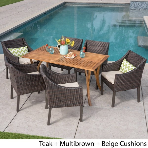 Tara Outdoor 7 Piece Acacia Wood/ Wicker Dining Set by Christopher Knight Home