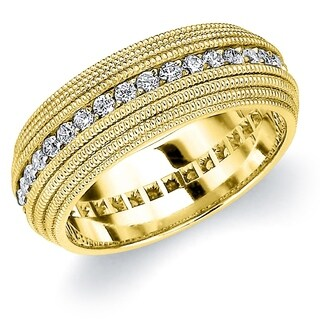 Amore 10K Yellow Gold Men's .75 CTTW Diamond Eternity Wedding Band with 4 Row Milgrain