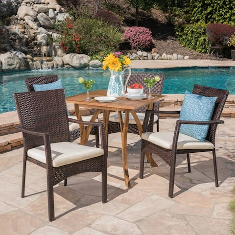 Ferris Outdoor 5 Piece Acacia Wood/ Wicker Dining Set by Christopher Knight Home