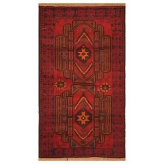 Handmade Herat Oriental Afghan Hand-knotted Tribal Balouchi Wool Rug - 2'8 x 4'10
