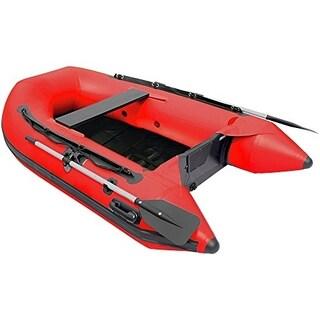 ALEKO 8.4 ft Inflatable Fishing Raft 3 prs Boat with Slide Slat Deck (Option: Red)