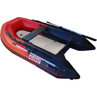 ALEKO 8.4 ft Inflatable Raft Fishing 3 Person Boat with Air Floor Deck (Option: Red)
