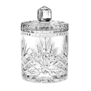 """Majestic Gifts European Handcut Crystal Cookie Jar / Candy Box, 7""""H, 17 Oz."""