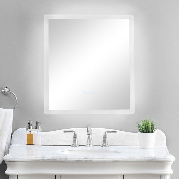 smartled illuminated fog free bathroom mirror with built in bluetooth speakers and dimmer - Bathroom Speakers