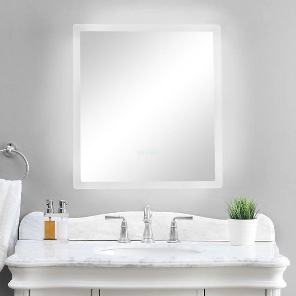 Smartled Illuminated Fog Free Bathroom Mirror With Built In Bluetooth Speakers And Dimmer 24 X 27 Silver 24 X 27 Overstock 21033704