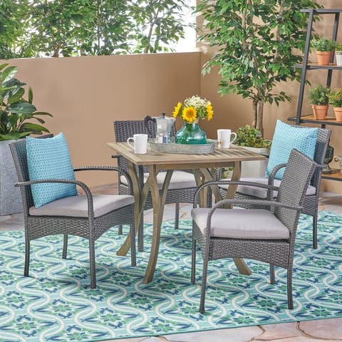Hartford Outdoor 5 Piece Acacia Wood/ Wicker Dining Set by Christopher Knight Home