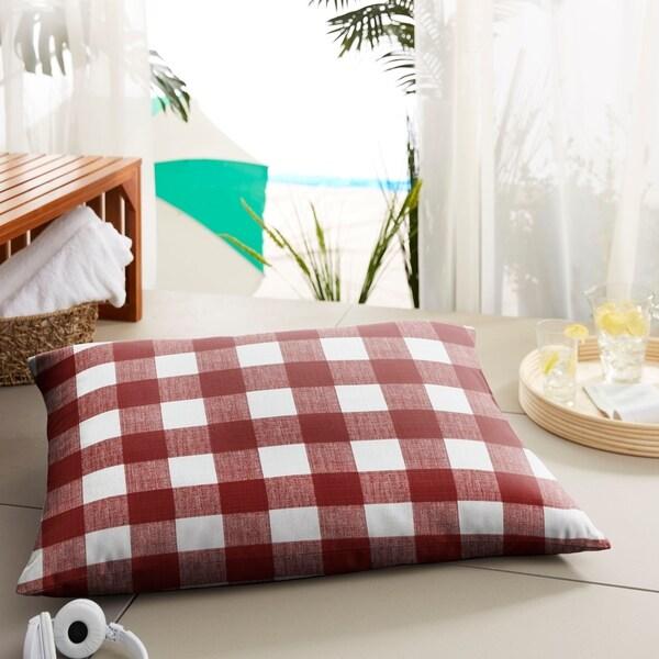 Humble + Haute Red Buffalo Plaid Indoor/ Outdoor Floor Pillow - 35 in w x 26 in d