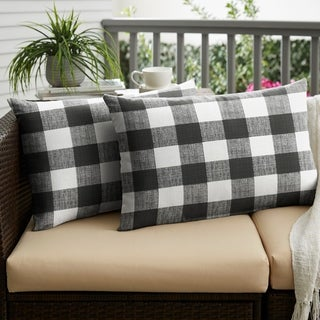 Humble + Haute Black Buffalo Plaid Indoor/ Outdoor XL Lumbar Pillow, Set of 2 - 16 in h x 26 in w