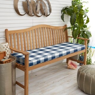 Humble and Haute Dark Blue Buffalo Plaid Indoor/ Outdoor Bench Cushion