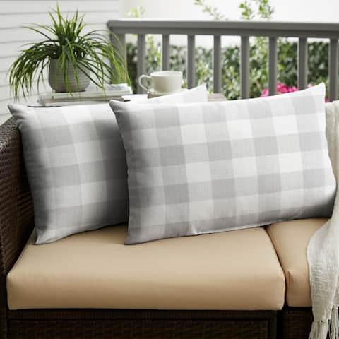Humble + Haute Grey Buffalo Plaid Indoor/ Outdoor XL Lumbar Pillow, Set of 2 - 16 in h x 26 in w