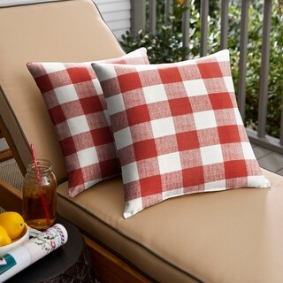 Humble + Haute Red Buffalo Plaid Indoor/ Outdoor Square Pillow, Set of 2