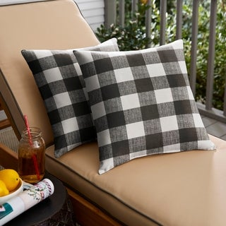 Humble + Haute Black Buffalo Plaid Indoor/ Outdoor Square Pillow, Set of 2