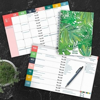 July 2018 - June 2019 Leaves Medium Weekly Monthly Planner