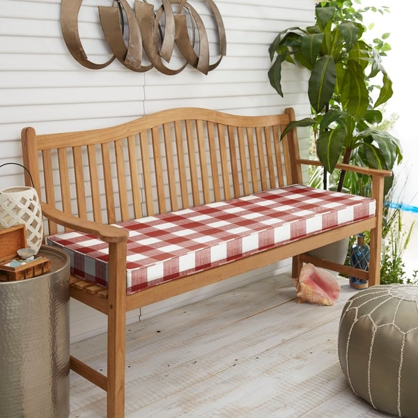 Humble Haute Red Buffalo Plaid Indoor Outdoor Bench Cushion