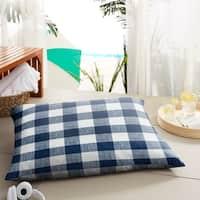 Humble + Haute Dark Blue Buffalo Plaid Indoor/ Outdoor Floor Pillow - 35 in w x 26 in d