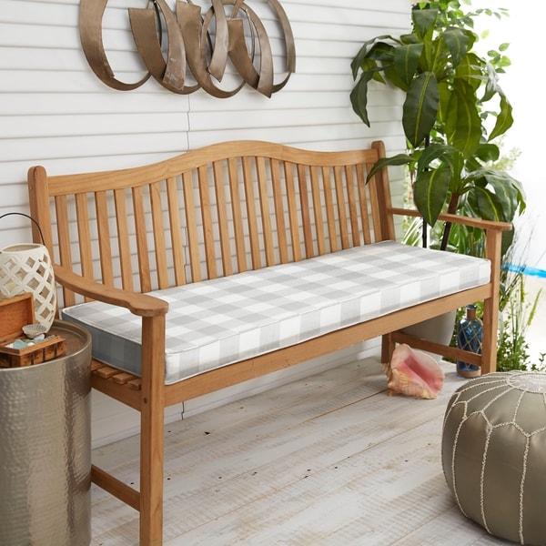 Humble + Haute Grey Buffalo Plaid Indoor/ Outdoor Bench Cushion