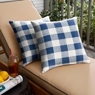 Humble + Haute Dark Blue Buffalo Plaid Indoor/ Outdoor Square Pillow, Set of 2