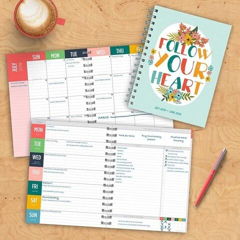July 2018 - June 2019 Heart Medium Weekly Monthly Planner