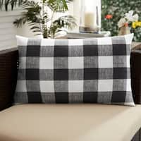 Humble + Haute Black Buffalo Plaid Indoor/ Outdoor XL Lumbar Pillow - 16 in h x 26 in w