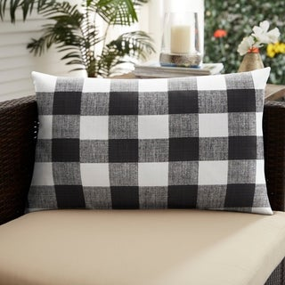 Humble + Haute Black Buffalo Plaid Indoor/ Outdoor XL Lumbar Pillow - 16 in h x 26 in w