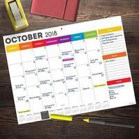 July 2018 - June 2019  Rainbow Mini Desk Pad Calendar