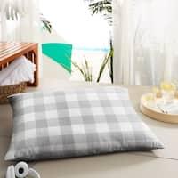 Humble + Haute Grey Buffalo Plaid Indoor/ Outdoor Floor Pillow - 35 in w x 26 in d